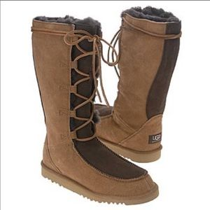 UGG Tall Lace Up Caramel and Brown Boots